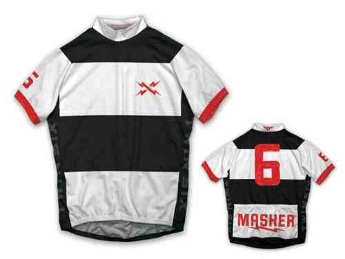Twin Six Masher White/Black Full Zip Cycling Jersey Medium