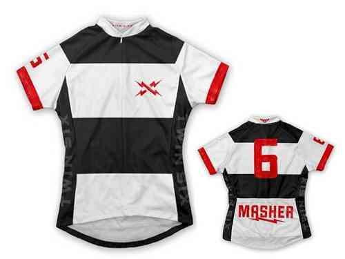 "Twin Six ""The Masher"" White/Black Full Zip Women's Cycling Jersey"