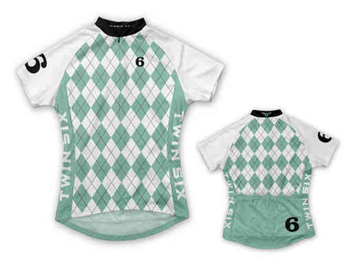 Twin Six The Argyle White Full Zip Women's Cycling Jersey